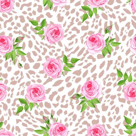 glam: Leopardo Glam y las rosas de impresi�n incons�til del vector