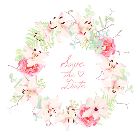 Lilies, roses and fern wedding wreath vector frame. Save the Date wedding template. All elements are isolated and editable.  イラスト・ベクター素材