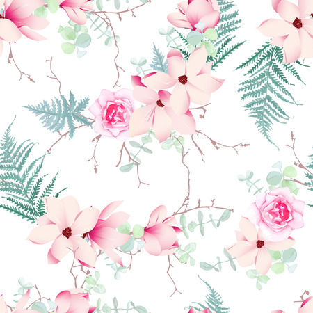 Chinese magnolia, roses and fern light seamless vector pattern 일러스트