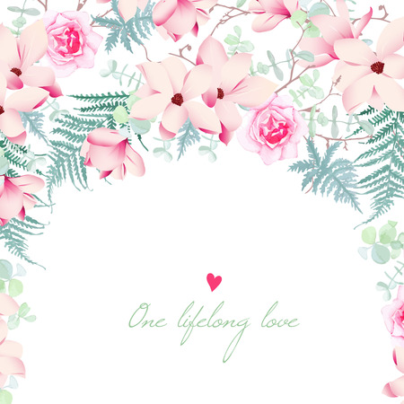 Wedding magnolia and rose flowers vector card. Invitation template in chinese style. Illustration