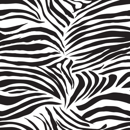 Black and white striped zebra animal seamless vector print Illustration