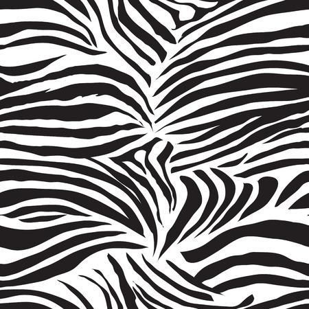 Black and white striped zebra animal seamless vector print Illustration