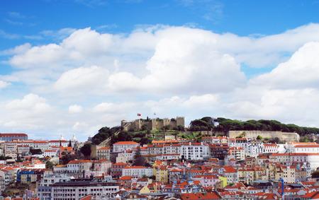 gloria: Lisbon city spring skyline from park Gloria viewpoint, Portugal