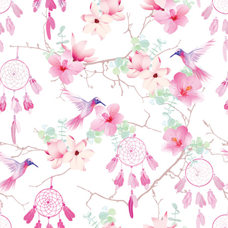 Exotic dream catchers on the branches seamless vector pattern. Delicate print with tropical flowers and hummingburds. Vectores