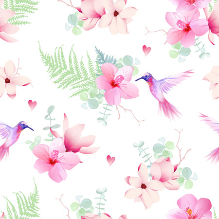 Delicate tropical flowers with flying hummingbirds seamless vector print