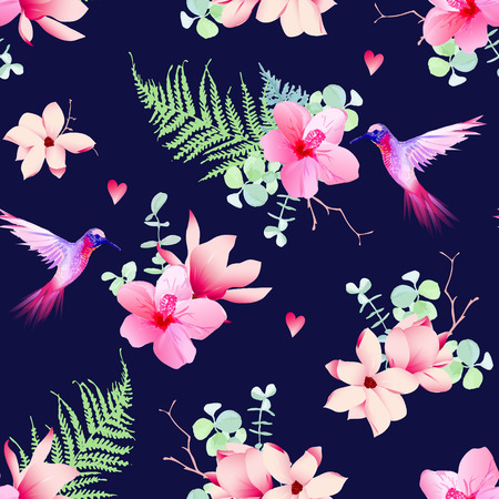 Navy pattern with tropical flowers and flying hummingbirds. Seamless vector print