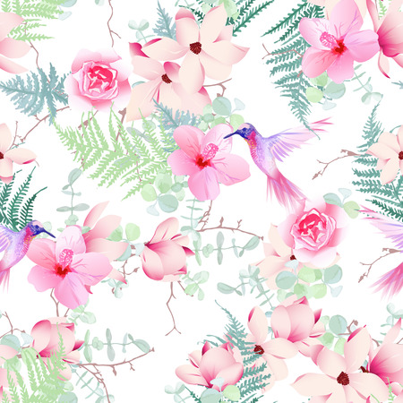 Exotic flowers with flying hummingbirds seamless vector print Vettoriali