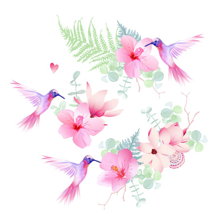 Delicate tropical flowers with flying hummingbirds vector design set. All elements are isolated and editable