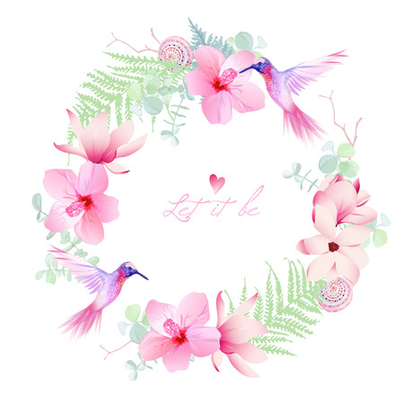 Delicate tropical flowers with flying hummingbirds round vector frame. All elements are isolated and editable