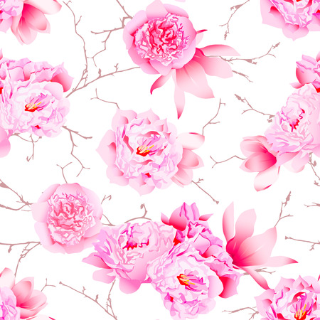 beautiful rose: Delicate peonies and camellia on the bare branches floral seamless vector print
