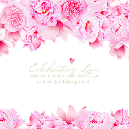 Delicate peonies and camellia floral vector wedding design