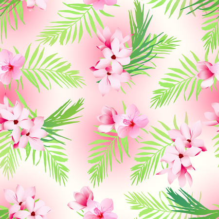 Hawaiian exotic plants seamless vector print