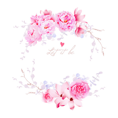 pink wedding: Spring magnolia and peonies vector frame. Gentle flowers wedding template. All elements are isolated and editable.