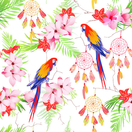 Tropical forest with parrots and dreamcatchers seamless vector print