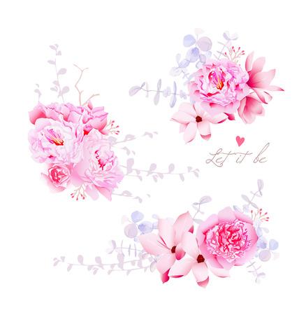 春マグノリアと牡丹はベクトルの花束です。穏やかな結婚式の花。すべての要素が分離し、編集可能です。