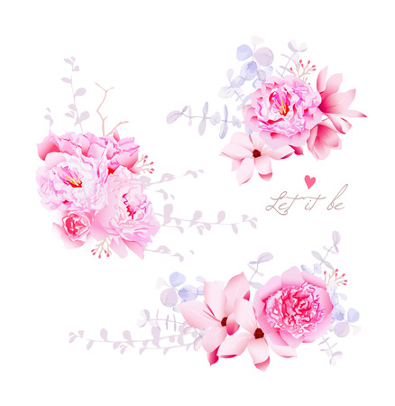Spring magnolia and peonies vector bouquets. Gentle wedding flowers. All elements are isolated and editable.