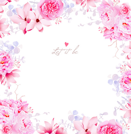Elegant magnolia and peonies vector frame. Gentle flowers wedding template.