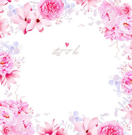 Elegante magnolia en pioenrozen vector frame. Gentle bloemen bruiloft template. Stock Illustratie
