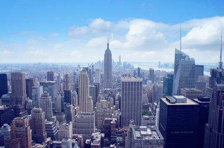 futuristic city: New York City Manhattan midtown aerial panorama