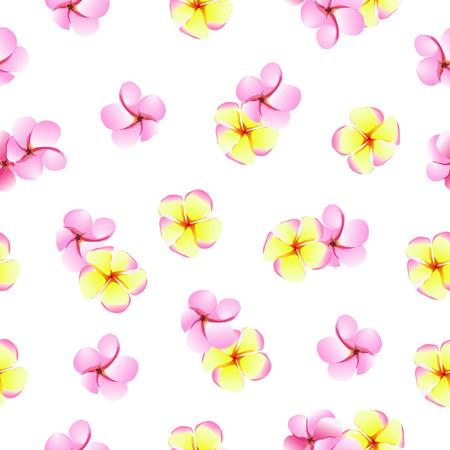 pink plumeria: Pink and yellow plumeria spa flowers seamless pattern Illustration