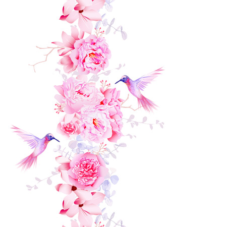 Gentle camellia, peonies and magnolia flowers. Vector design element with pink hummingbirds.