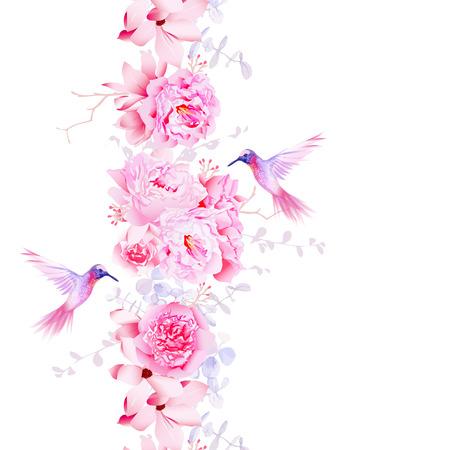 flor violeta: Suave camelia, peon�as y flores de magnolia. Vector elemento de dise�o con los colibr�es rosados. Vectores