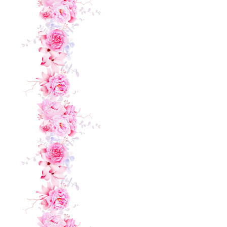 Delicate pink camellia and peonies seamless vector vertical line. Floral background.
