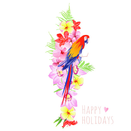 Tropical flowers and parrot vector design set. All elements are isolated and editable. Illustration