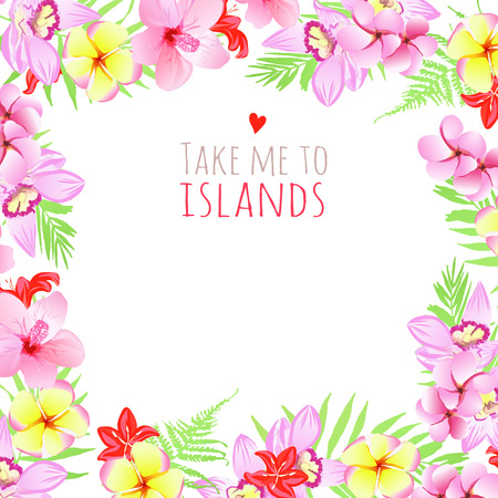 pink plumeria: Design template with text Take me to islands square frame