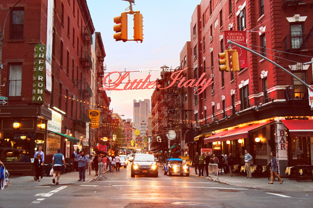 Little Italy Mulberry street by evening in the New York City.