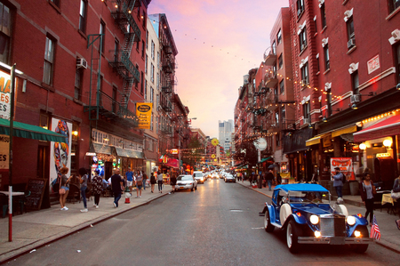 city night: Little Italy Mulberry street by evening in the New York City.