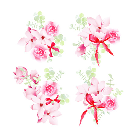design objects: Celebration floral bunches with red bows vector design objects. All elements are isolated and editable. Illustration