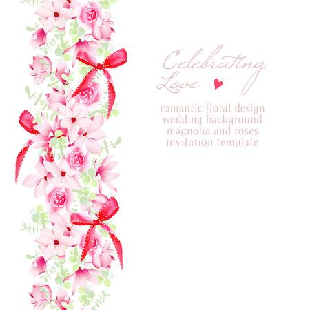 dessin coeur: invitation de mariage avec des bouquets et des arcs rouges cadre de dessin vectoriel. Belle enregistrer le modèle de date.
