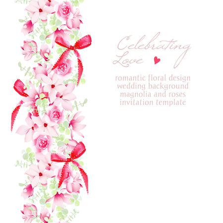 pink wedding: Wedding invitation with bouquets and red bows vector design frame. Beautiful Save the date template.