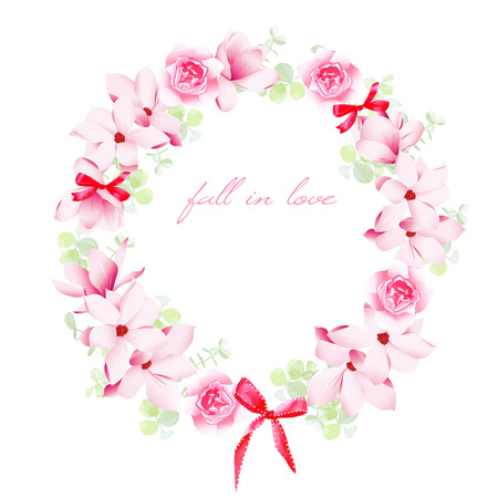 Blooming bouquets with bows vector design frame. All elements are isolated and editable.