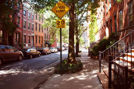 cars road: Perry street of Greenwich village district, New York