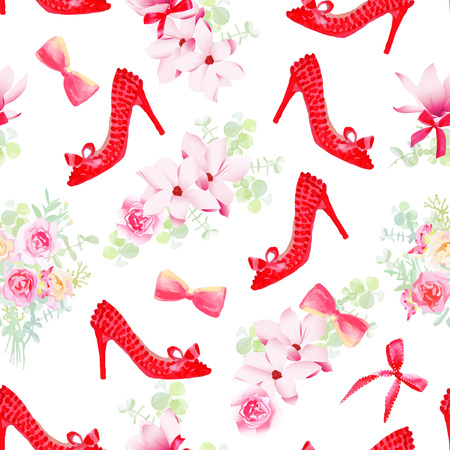 allure: Female fashion shoes with flower bouquets seamless vector pattern. Beautiful romantic print with red style shoes, flower garlands, bows.