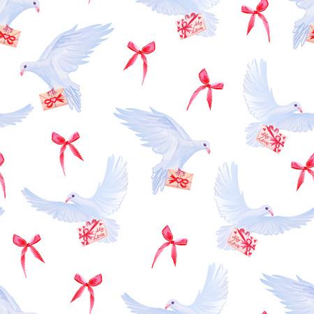 telegrama: Palomas con correo de amor y lazos rojos de vectores sin fisuras de impresión.