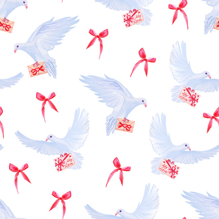 Doves with love mail and red bows seamless vector print.