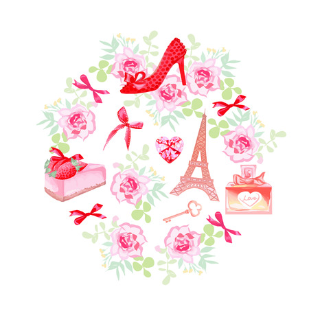 strawberry cake: Romantic Paris vector design set. Rose bunches, fashion shoe, bows, key, strawberry cake, Eiffel tower, perfume bottle, pink heart diamond isolated elements.