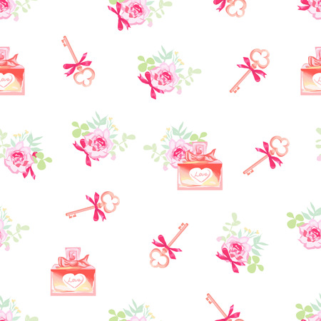 Cute perfume bottles and secret keys floral seamless vector pattern. Paris inspired design print.