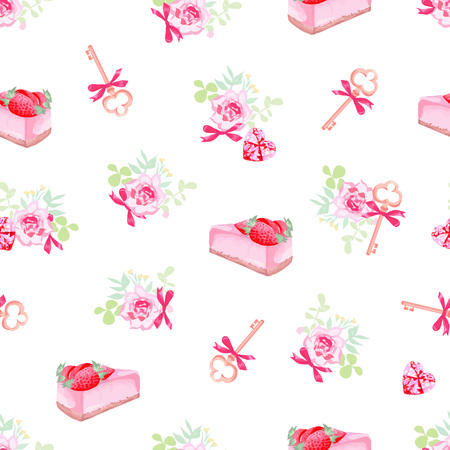 tea party: Delicious cakes, flowers and cute keys seamless vector print Illustration