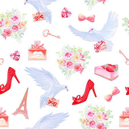 Paris in love fantasy seamless vector pattern. Beautiful romantic print with post dove, love letters, flowers, parfumes, Eiffel towers, desserts, female shoes and keys. Vettoriali