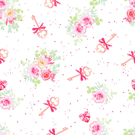 old keys: Delicate flowers and old keys with bows seamless vector pattern. Dotted pink on white backdrop. Illustration