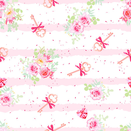 old keys: Delicate flowers and old keys with bows seamless vector pattern. Dotted pink on white backdrop with pink stripes.