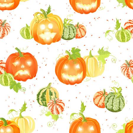 fall harvest: Fall pumpkin harvest and Halloween decorations seamless vector pattern Illustration