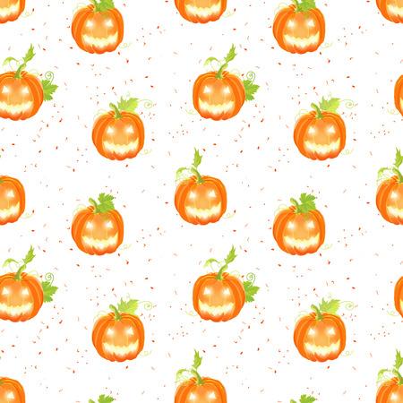 jack o  lanterns: Happy Jack o lanterns on the dotted backdrop seamless vector pattern