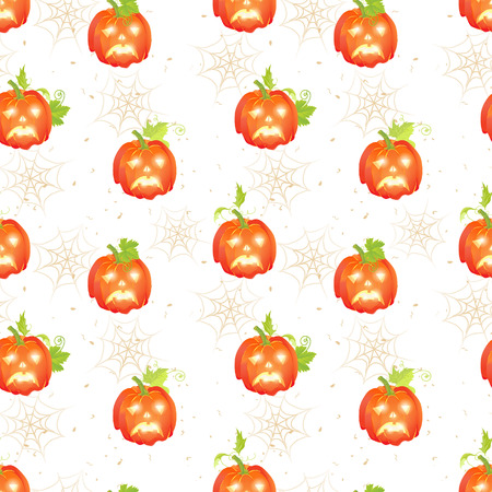 speckle: Sad Halloween pumpkins on the dotted backdrop with spider webs seamless vector print Illustration