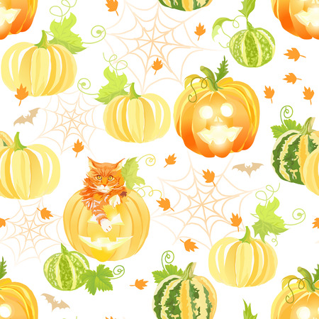 spider webs: Decorative Halloween pumpkins, spider webs, red cats and bats seamless vector print