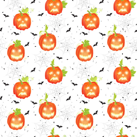 Halloween day seamless vector pattern with pumpkins, bats and spider webs
